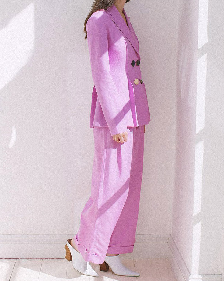 Dylan Linen Pink Tailored Trousers