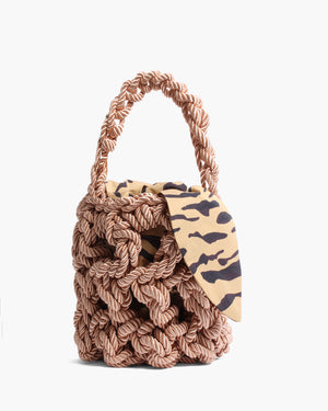 Sylvia Bag Satin Rope Natural + Cotton Print Tiger Beige Lining