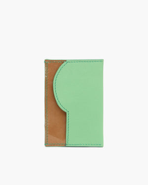RP Card Holder Leather Mint Green + Patent Brown
