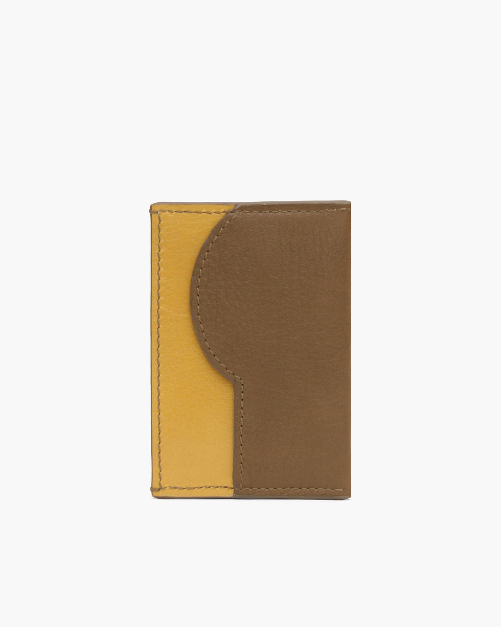 RP Card Holder Leather Khaki + Yellow