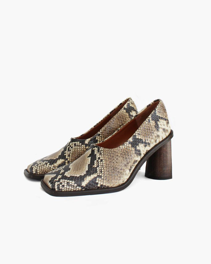Dani Leather Snake Beige with Dark Wood Heels - SPECIAL PRICE