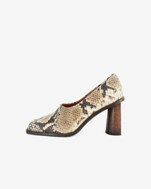 Dani Leather Snake Beige with Crescent Heels