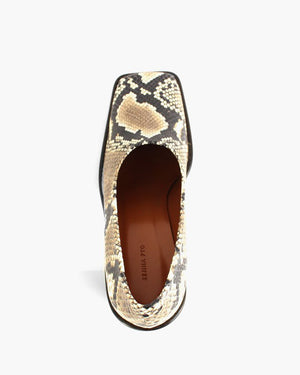 Dani Leather Snake Beige with Dark Wood Heels