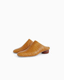 Gaby Mules Leather Croc Tan