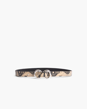 Infinity Belt Leather Print Boa Beige