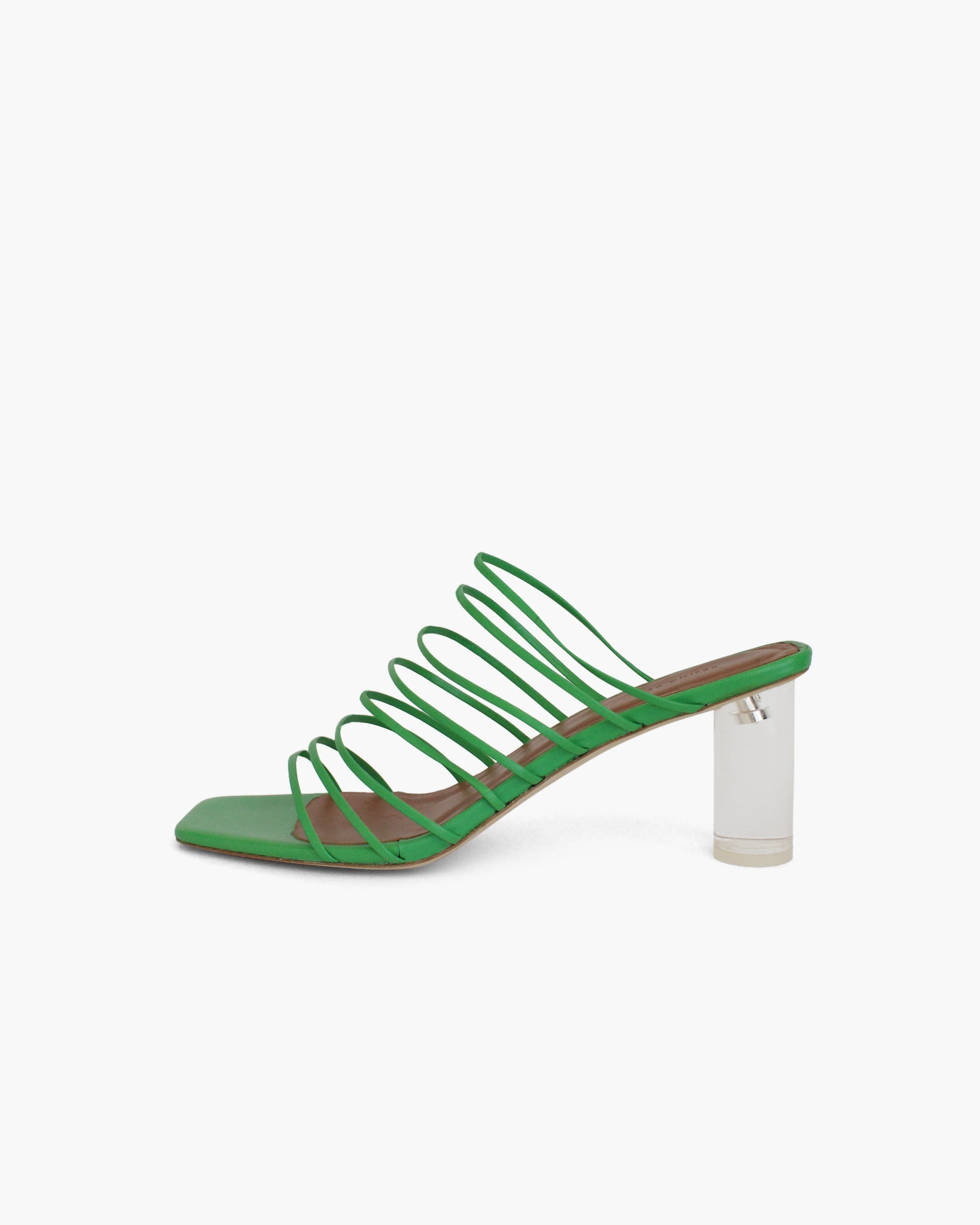 Zoe Sandal with Plexiglass Heel Leather Green
