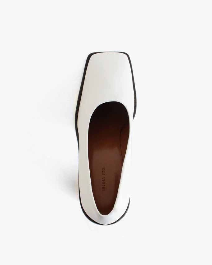 Dani Leather White with Dark Wood Heels - SPECIAL PRICE