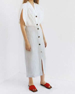 Ingrid Button Front Dress Cotton White + Linen Grey - SPECIAL PRICE
