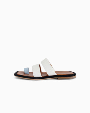 Larissa Sandals Leather Croc White + Blue