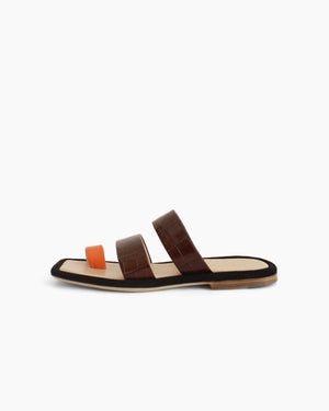 Larissa Sandal Leather Croc Brown Orange