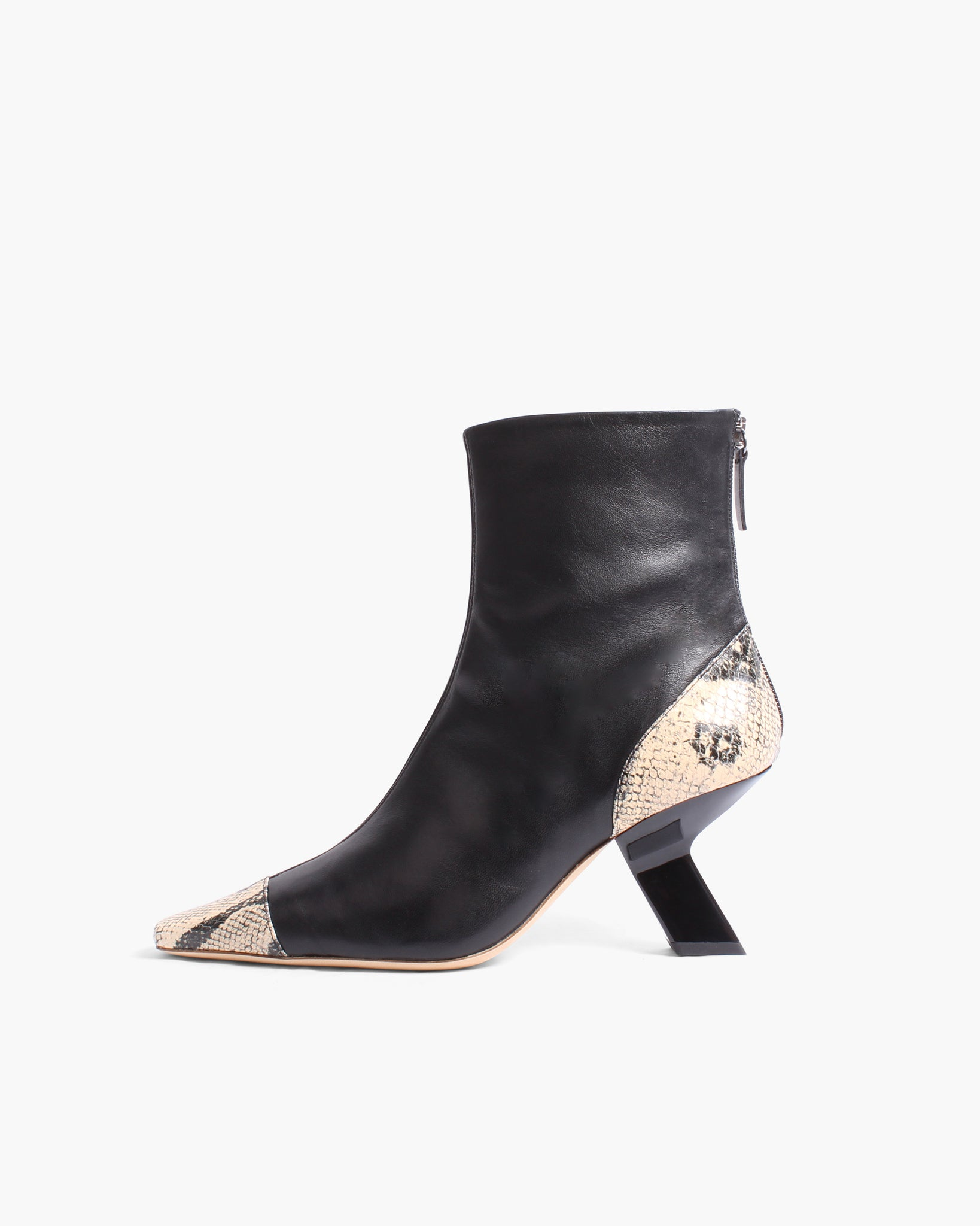 Marley Boots Leather Black + Print Boa Beige - SPECIAL PRICE