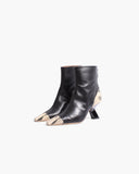 Marley Boots Leather Black + Print Boa Beige