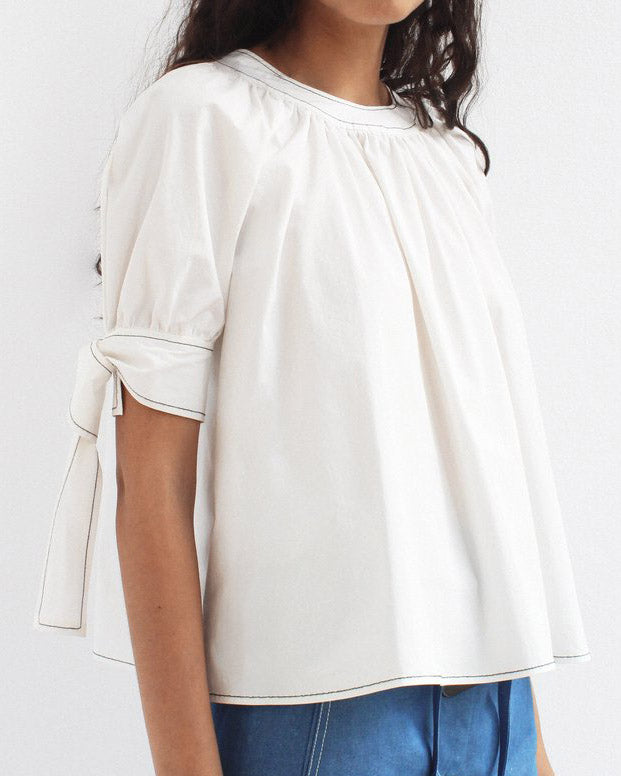 Hailey Puff Sleeve Blouse Cotton White - SPECIAL PRICE