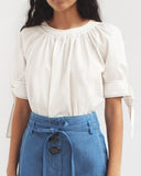 Hailey Puff Sleeve Blouse Cotton White