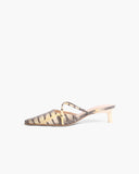 Phoebe Mules  Leather Print Chury Snake