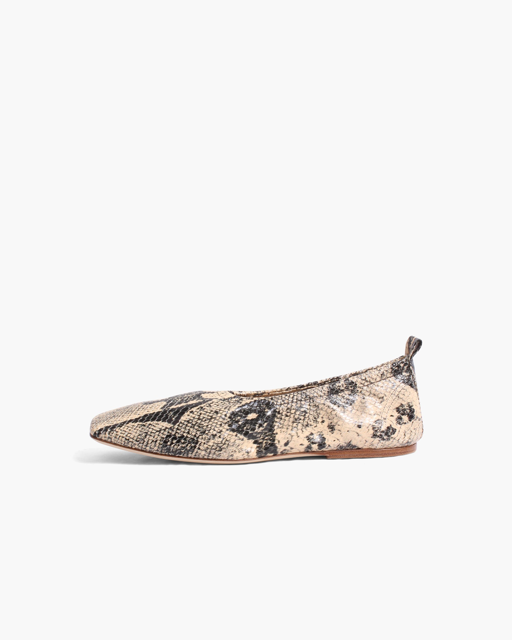 Tommi Flats Leather Print Boa Beige - SPECIAL PRICE