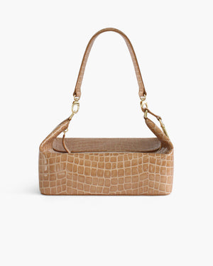 Olivia Box Bag Leather Patent Croc Taupe