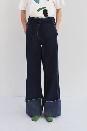 Peyton Belted Trousers Denim Dark Blue