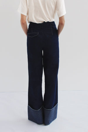 Peyton Belted Trousers Denim Dark Blue - SPECIAL PRICE