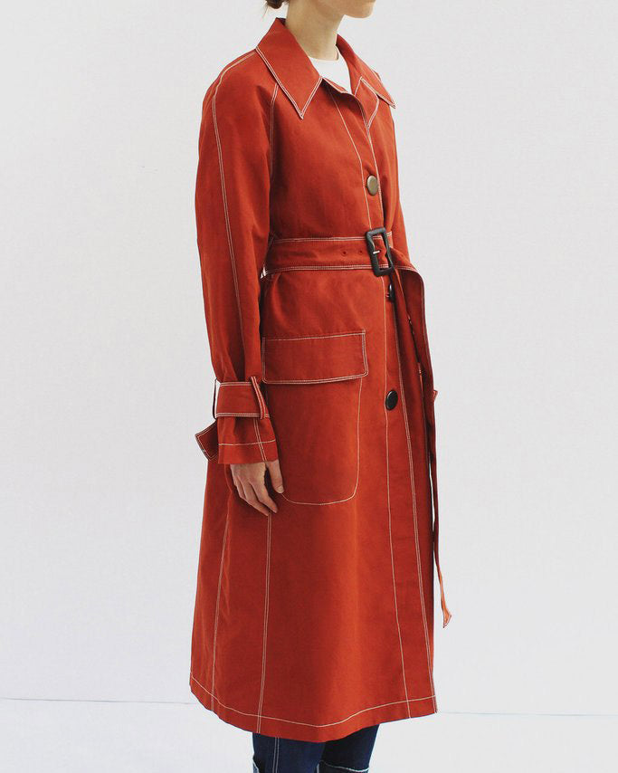 Hazel Belted Coat Linen Brick Red