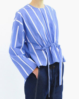 Brooke Blouse Cotton Stripe Blue