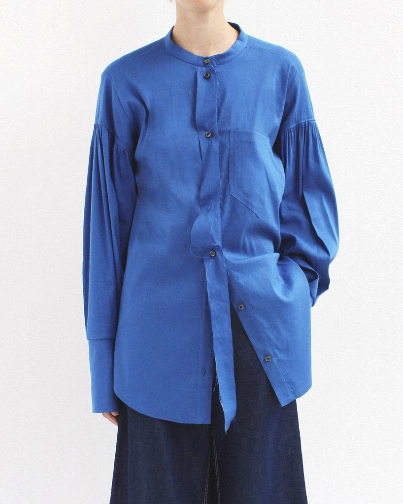 Annette Separate Placket Shirt Linen Blue