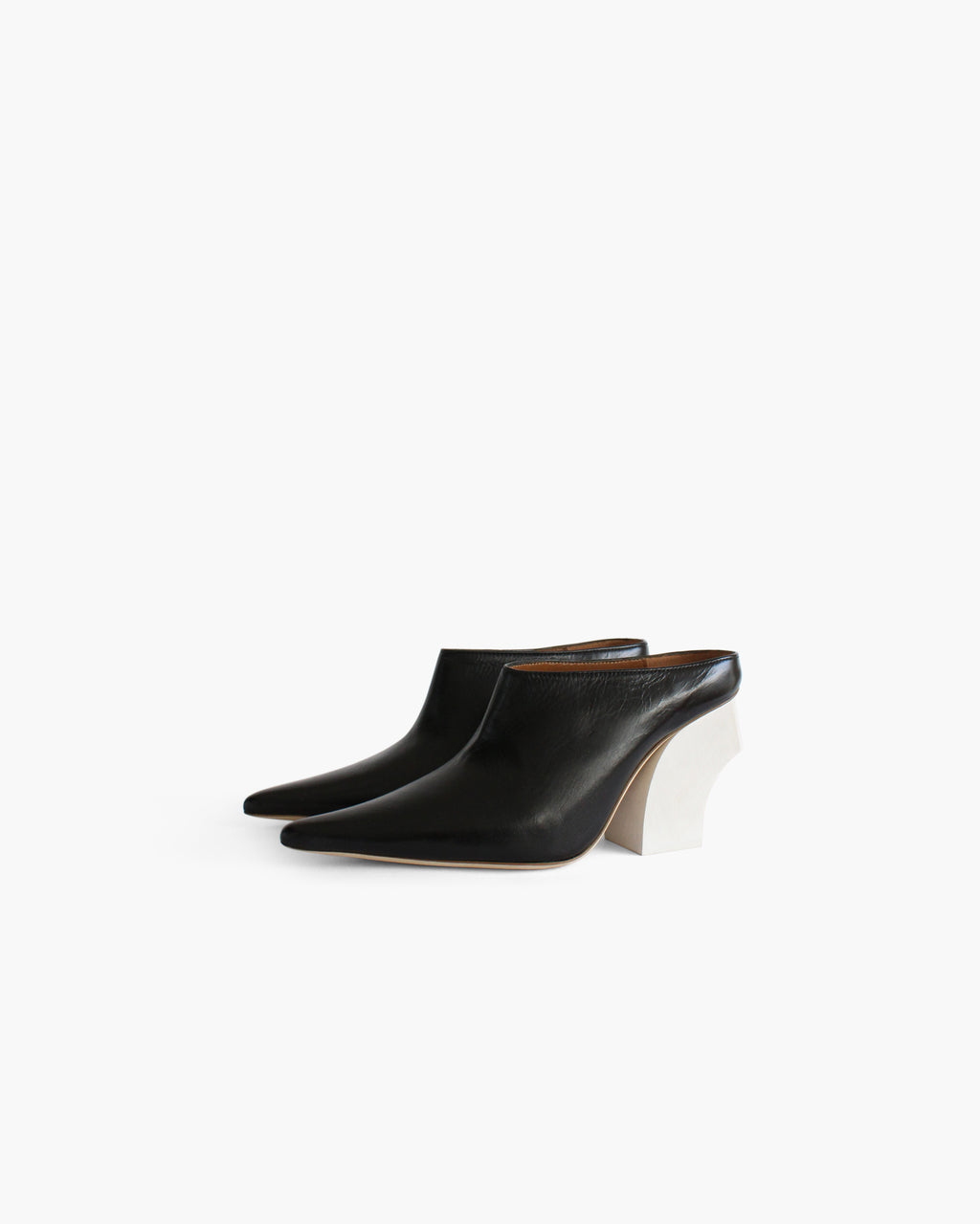 Yasmin Mule with Curved White Wooden Heel Leather Black