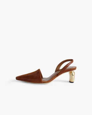 Conie Slingbacks Heels Leather Lizard Brown