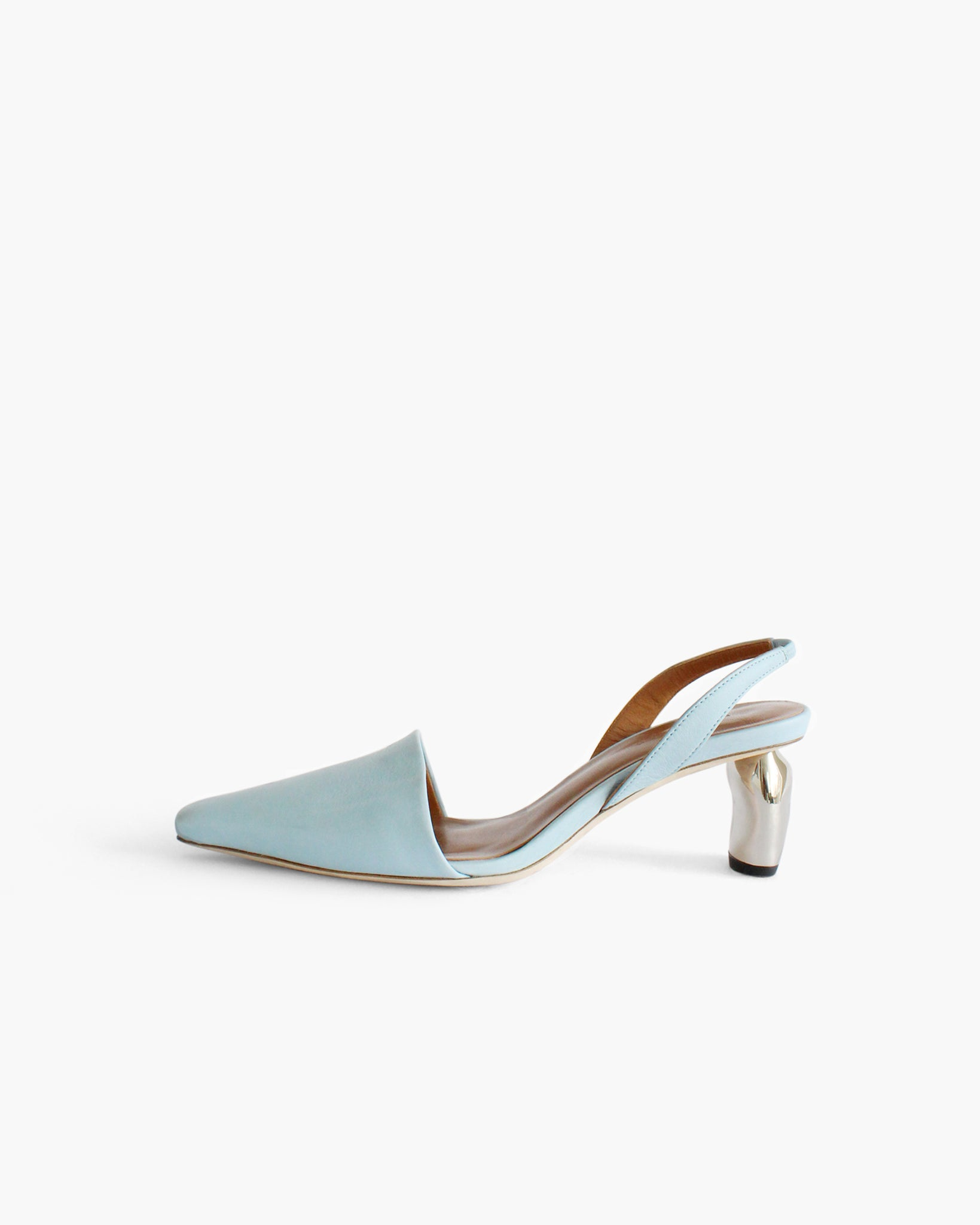 Conie Slingbacks Heels Leather Blue - SPECIAL PRICE