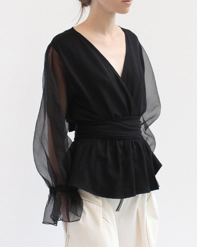 Flora Wrap Tie Blouse and Organza Black