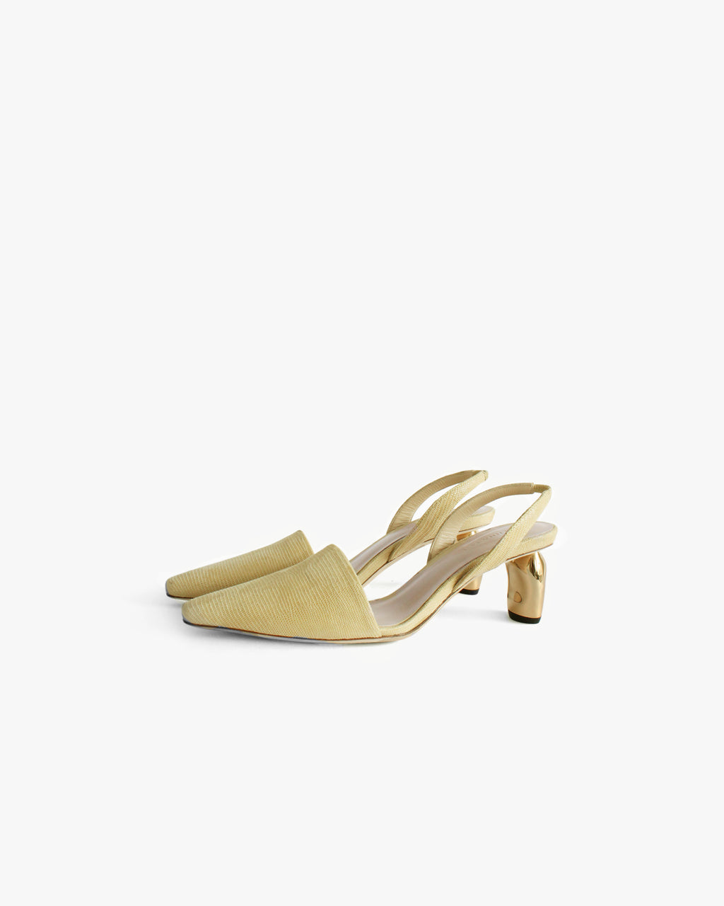 Conie Slingback Heel Leather Lizard Lemon