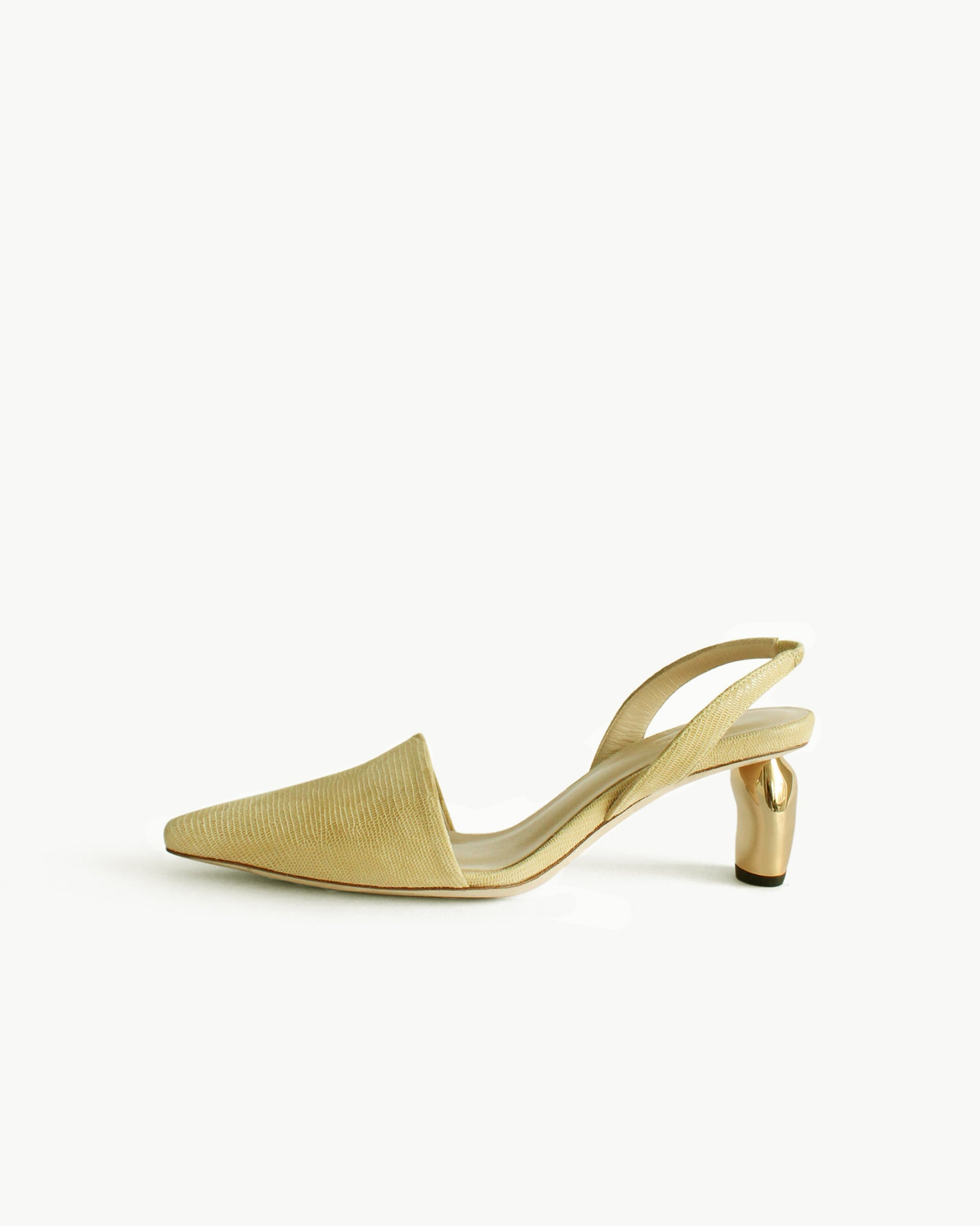 Conie Slingbacks Heels Leather Lizard Lemon - SPECIAL PRICE