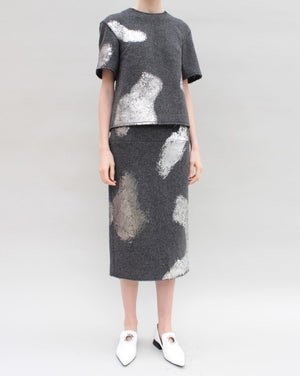 Skirt Silver Foiled Wool Grey