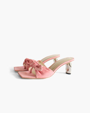 Lottie Ribbon Sandals Suede Pink with Tamarind Heels