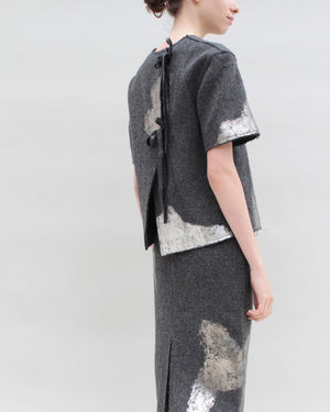 Top Wool Silver Foiled Grey