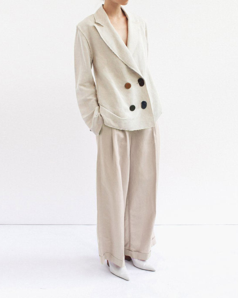Dylan Tailored Trousers Linen Light Grey - SPECIAL PRICE