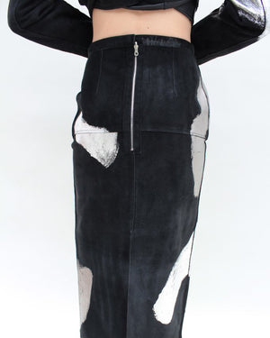 Sasha Pencil Skirt Suede Black Silver Foiled