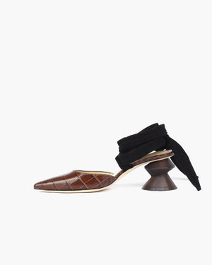 Barbara Leather Croc Brown with Dark Wood Heels - SPECIAL PRICE
