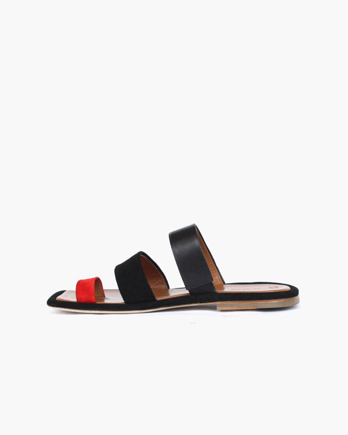 Larissa Three Strap Sandal Suede Red + Leather Black