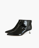 Marta Boots Leather Patent Black + White Heels