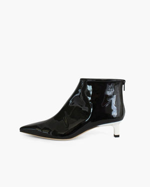 Marta Boots with White Heels Leather Patent Black