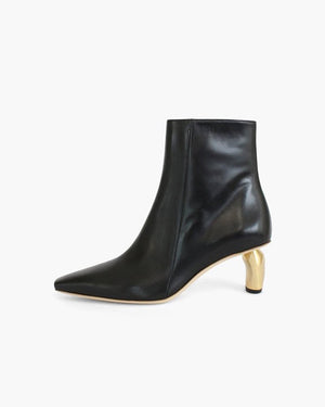 Annie Boots Leather Black with Gold Heels