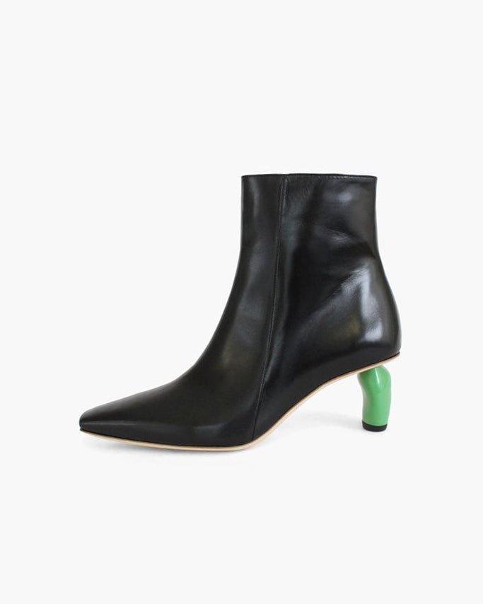 Annie Boots Leather Black with Green Heels - SPECIAL PRICE