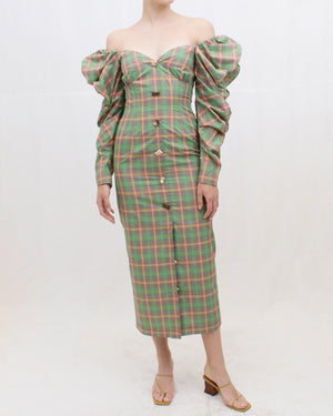 Betty Dress Voile Check Orange + Green