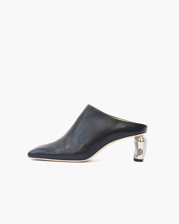Conie Mule Heel Black Leather