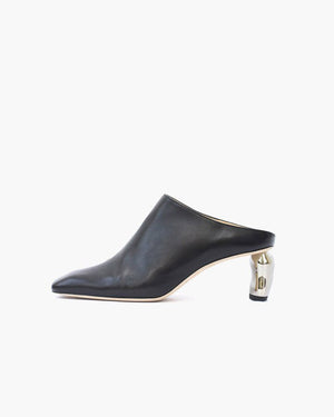 Conie Mules Heel Leather Black - SPECIAL PRICE