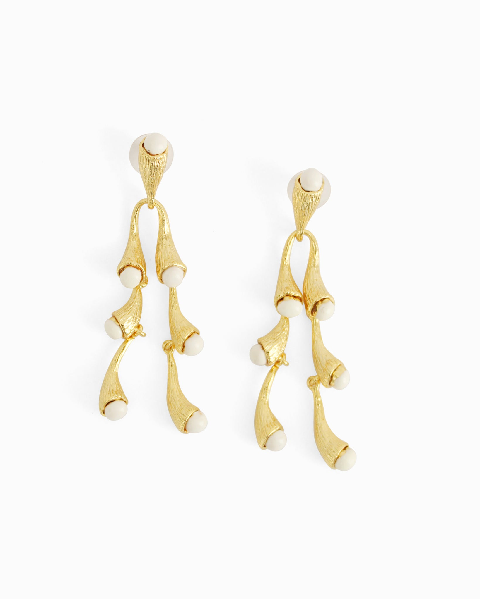Julia Earrings Gold Plated with Ivory Enamel