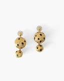 Cameron Earrings Gold Black Enamel Leopard