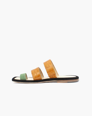 Larissa Sage Green Suede + Tan Leather Croc Three Strap Sandal