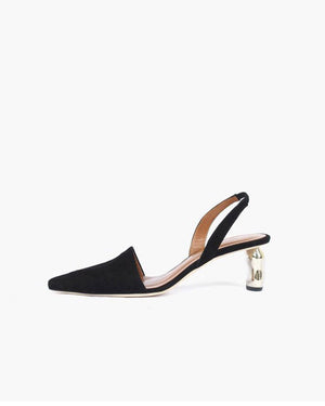 Conie Slingbacks Heels Suede Black